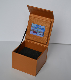 leather wrapped video box screen packaging