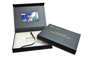 video panel box leather wrapped deluxe box set packaging